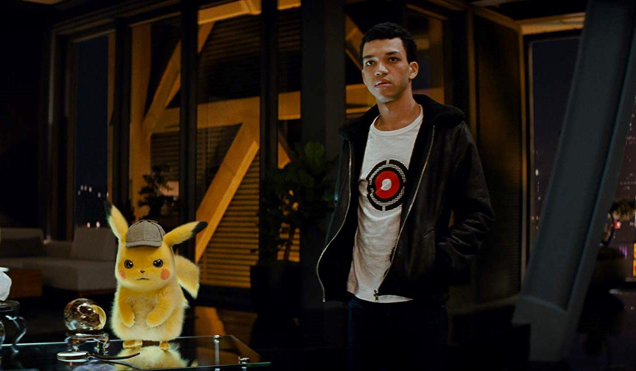 Tim Goodman (Justice Smith) with Pikachu in Pokemon Detective Pikachu (2019)
