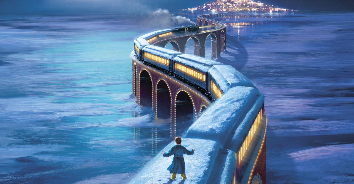 Train journey to the North Pole in The Polar Express (2004)