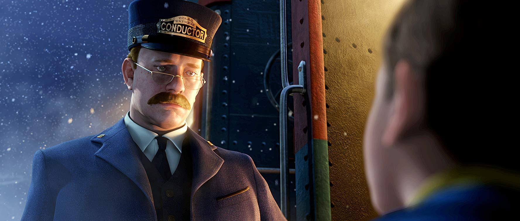 The Conductor (Tom Hanks) goes to click the Hero Boy's ticket in The Polar Express (2004)