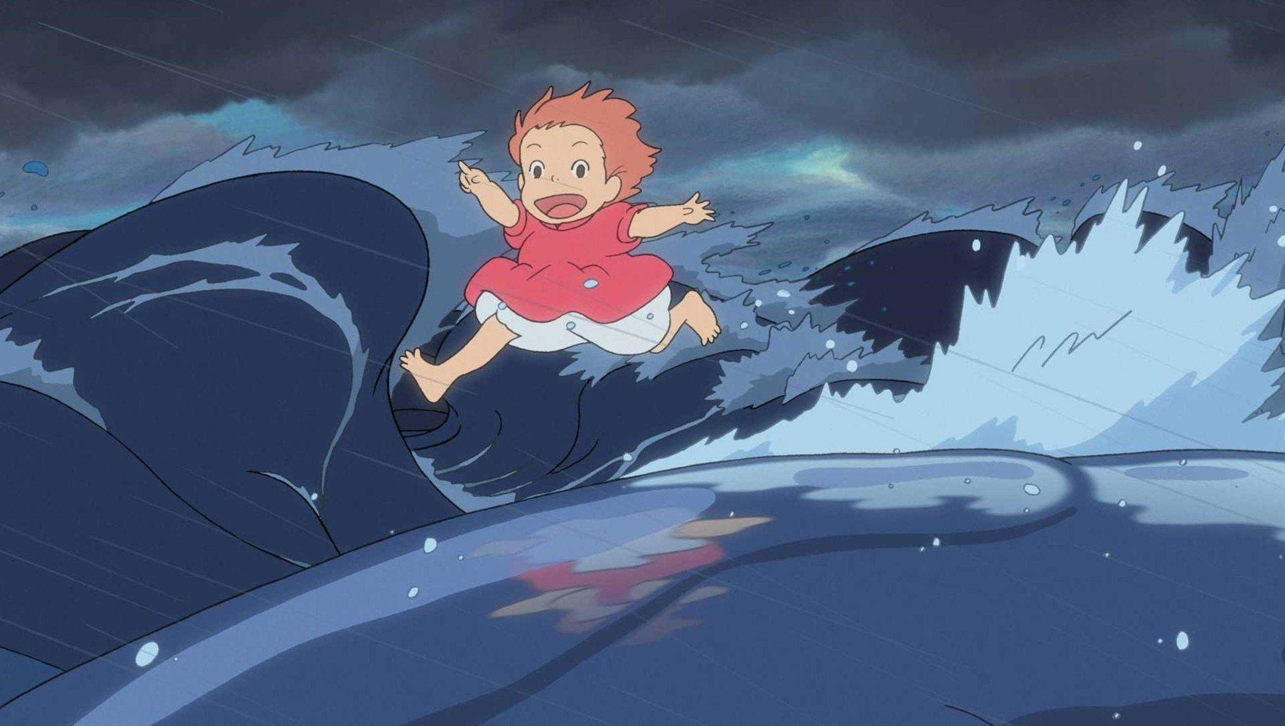 Ponyo runs across the waves in Ponyo on a Cliff By the Sea (2008)