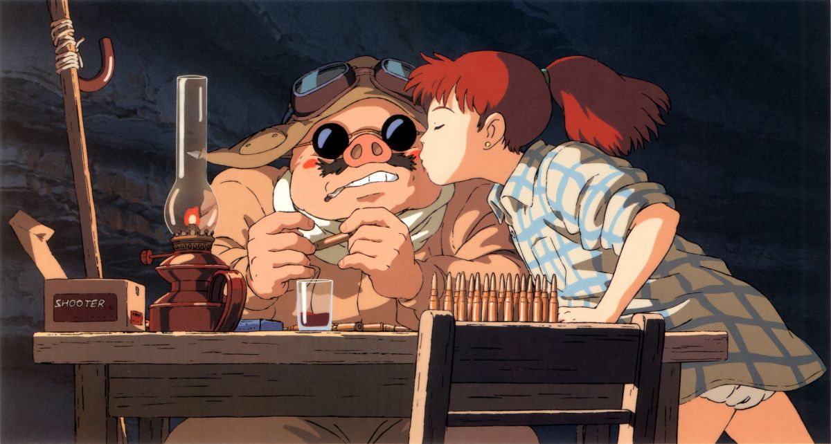Porco receives a kiss in Porco Rosso (1992)