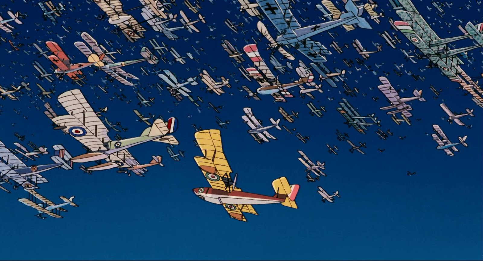 Porco flies up into the band made up of the planes of downed fliers in Porco Rosso (1992)