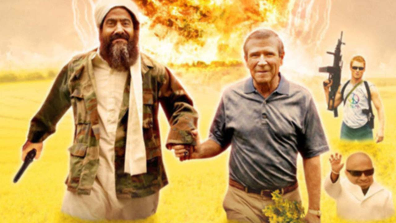 Skipping into the sunset Osama bin Laden (Larry Thomas) and George W. Bush (Brent Mendenhall) in Postal (2007)