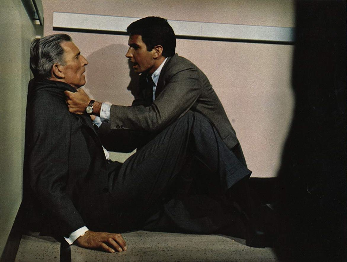 (l to r) Michael Rennie and George Hamilton, fellow scientists at a space centre in The Power (1968)