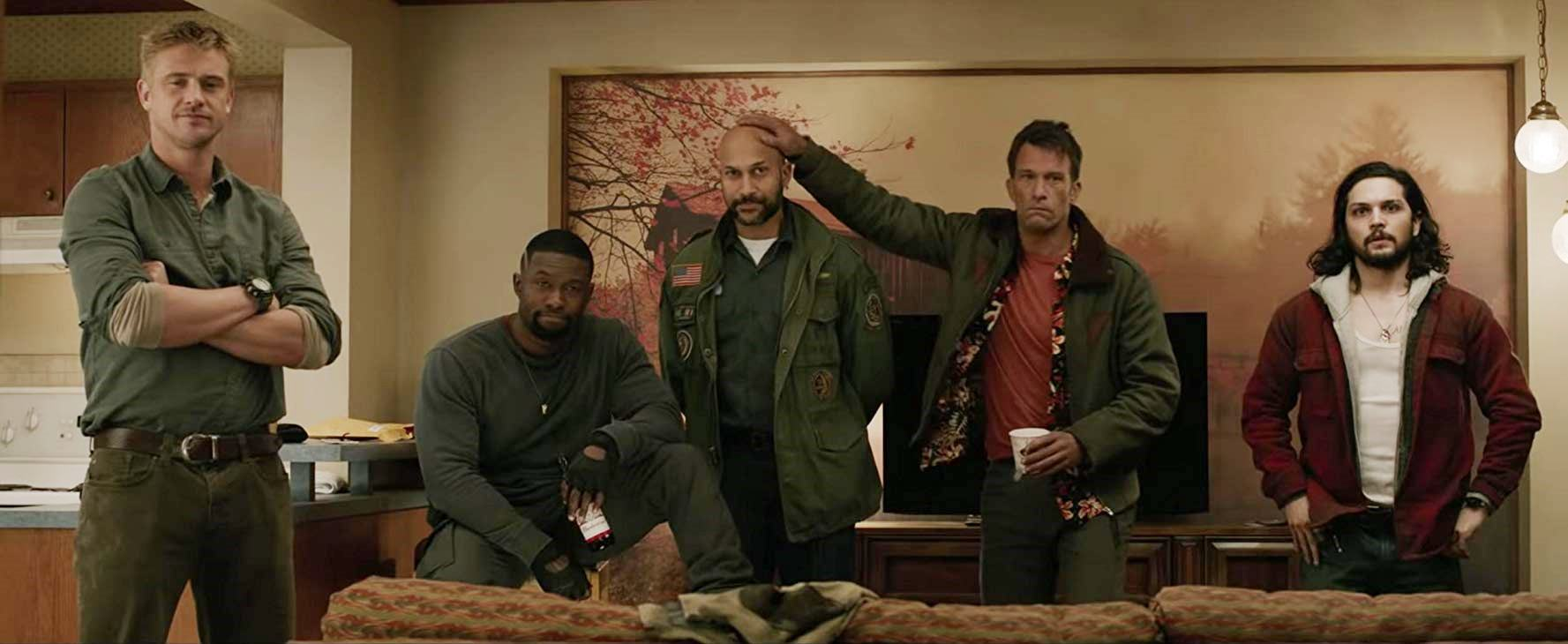 Boyd Holdbrook and his team of misfits Trevante Rhodes, Keegan-Michael Key, Thomas Jane, Augusto Aguilera in The Predator (2018)
