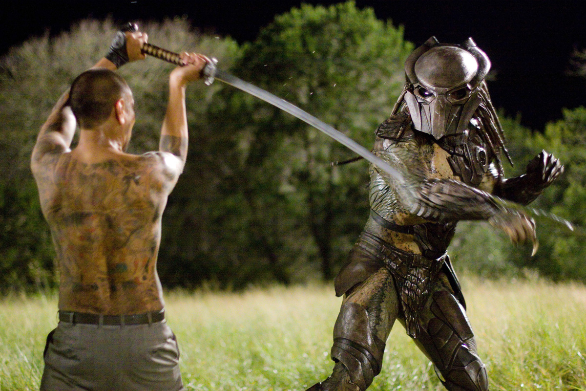 Louis Ozawa Changchien goes up against the Predator with a samurai sword in Predators (2010)