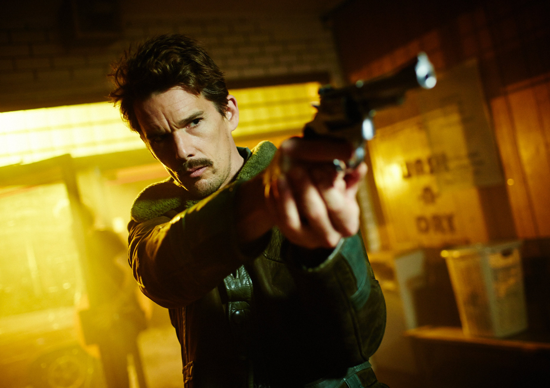 Ethan Hawke as the temporal agent known as The Barkeep in Predestination (2014)