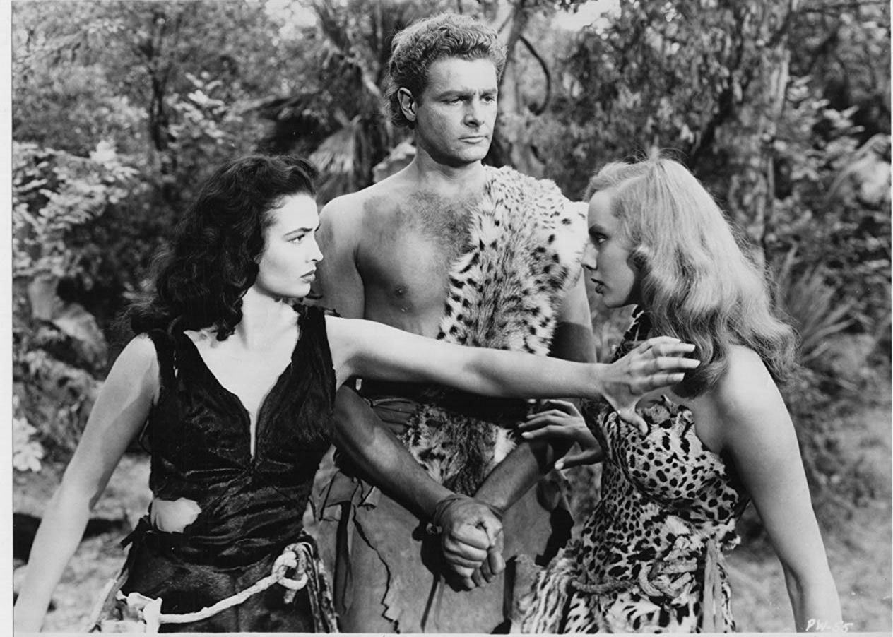 Allan Nixon fought over by Laurette Luez and Mara Lynn in Prehistoric Women (1950)
