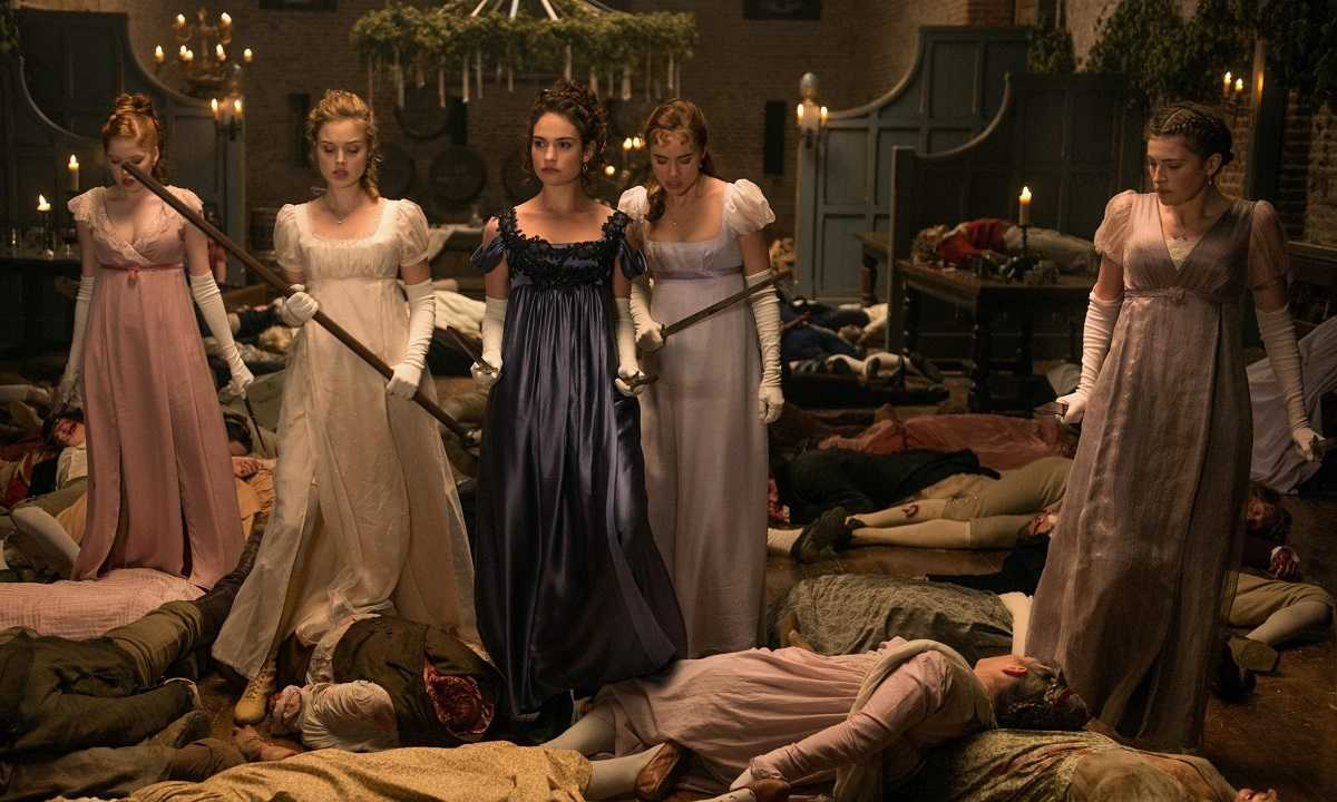 The Bennet sisters Ella Bamber, Bella Heathcote, Lily James, Suki Waterhouse, Millie Brady in Pride and Prejudice and Zombies (2016)