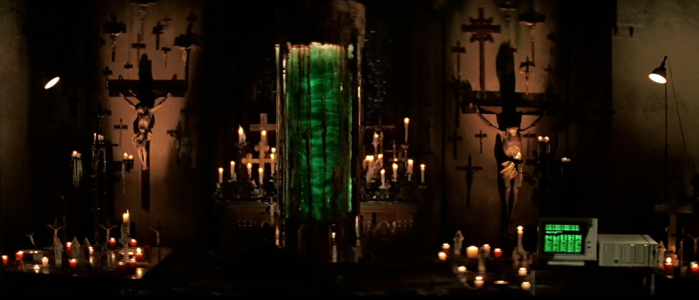 The mysterious cylinder of liquid in the church basement in Prince of Darkness (1987)