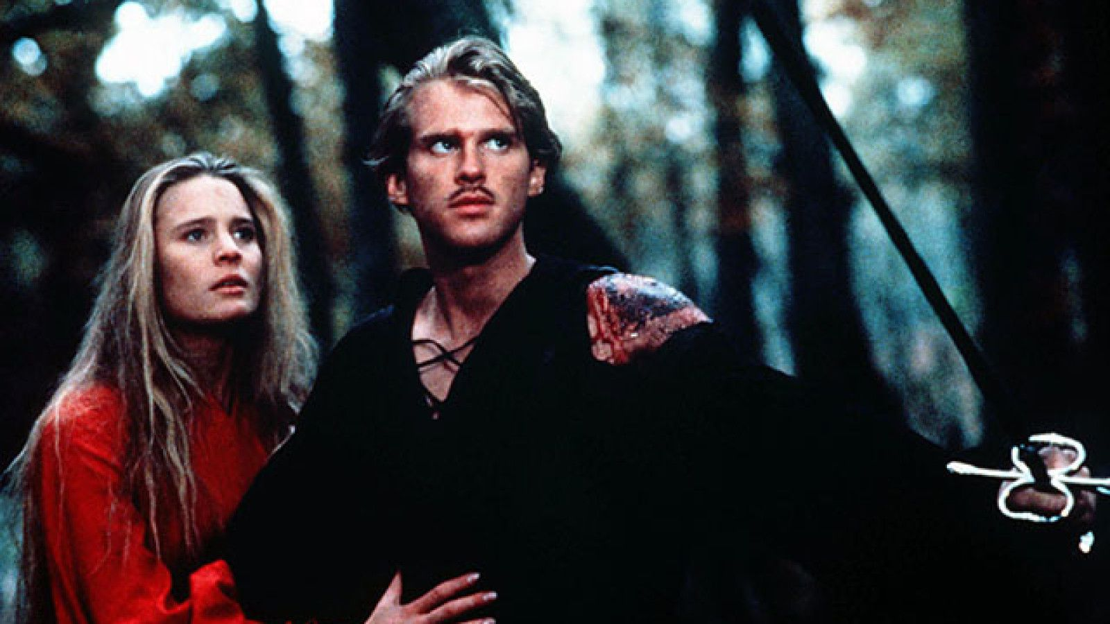 Westkey (Cary Elwes) and the Princess Buttercup (Robin Wright) venture through the forest in The Princess Bride (1987)