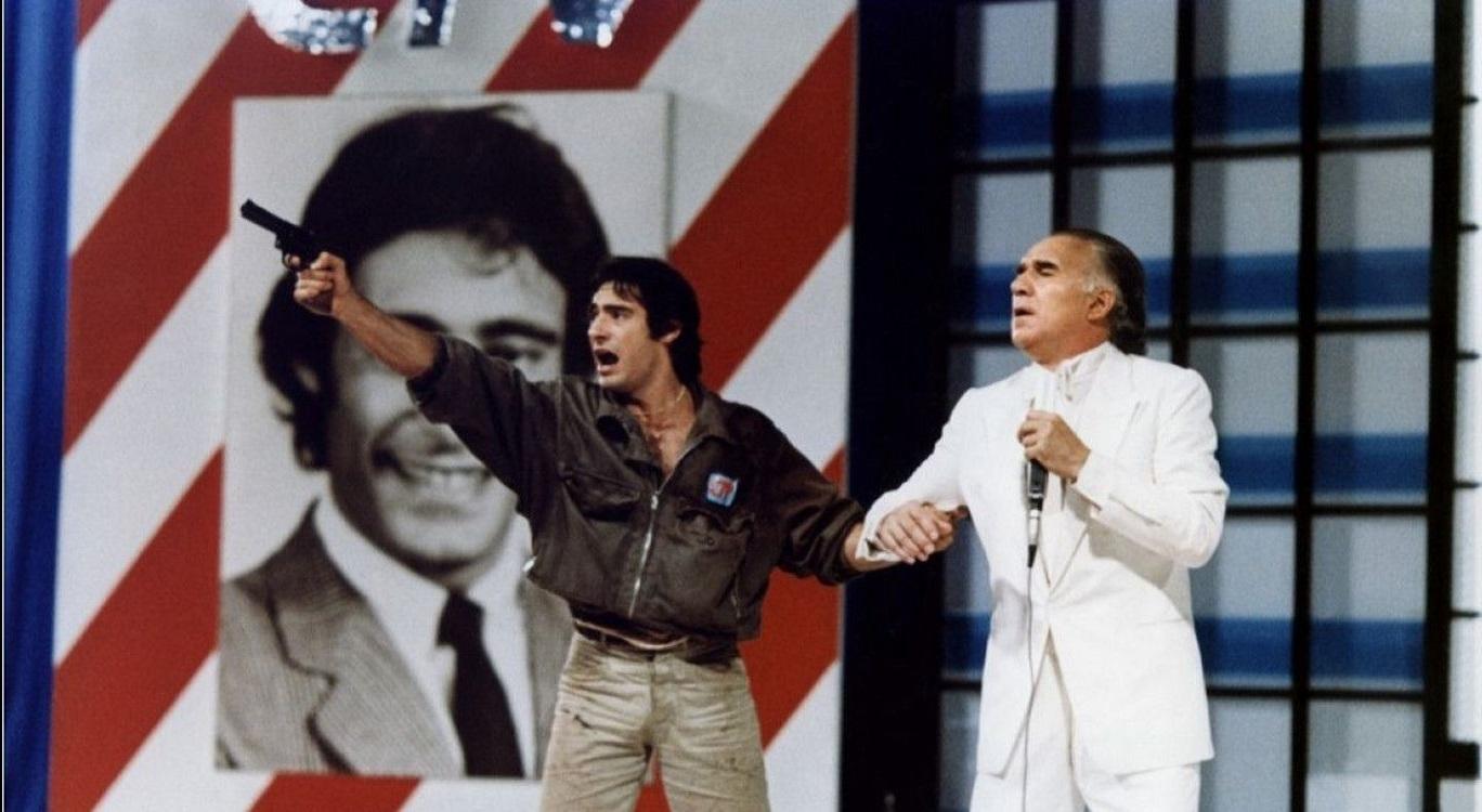 Gerard Lanvin and gameshow host Michel Piccoli in The Prize of Peril (1983)