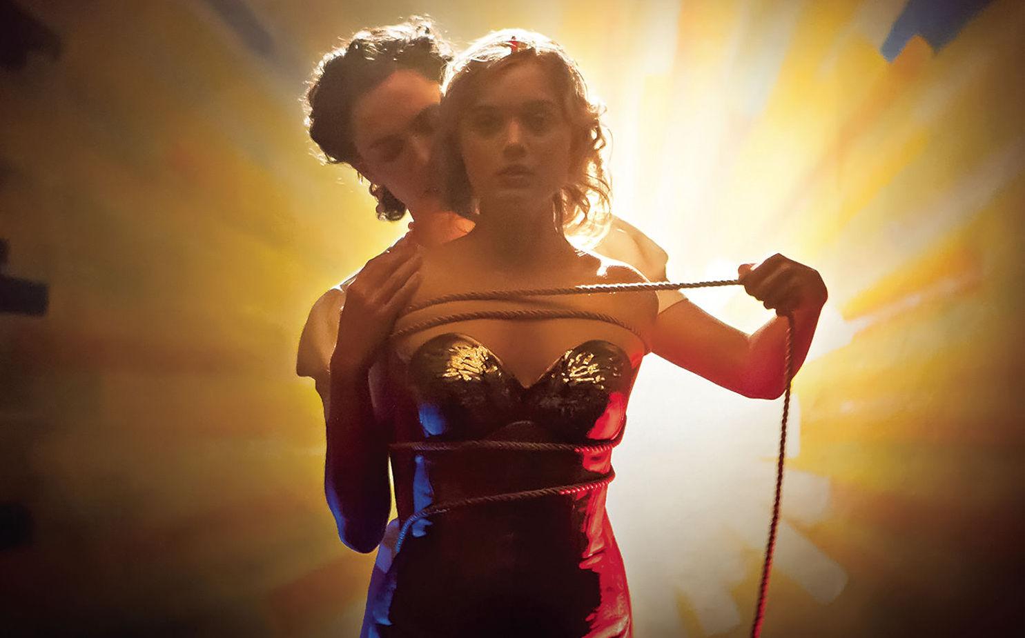 Rebecca Hall, Bella Heathcote - Wonder Woman's origin in bondage imagery in Professor Marston and the Wonder Women (2017)