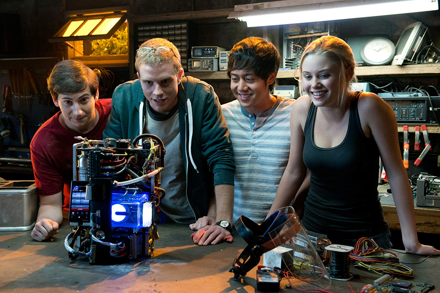 Sam Lerner, Jonny Weston, Allen Evangelista, Virginia Gardener in Project Almanac (2015)