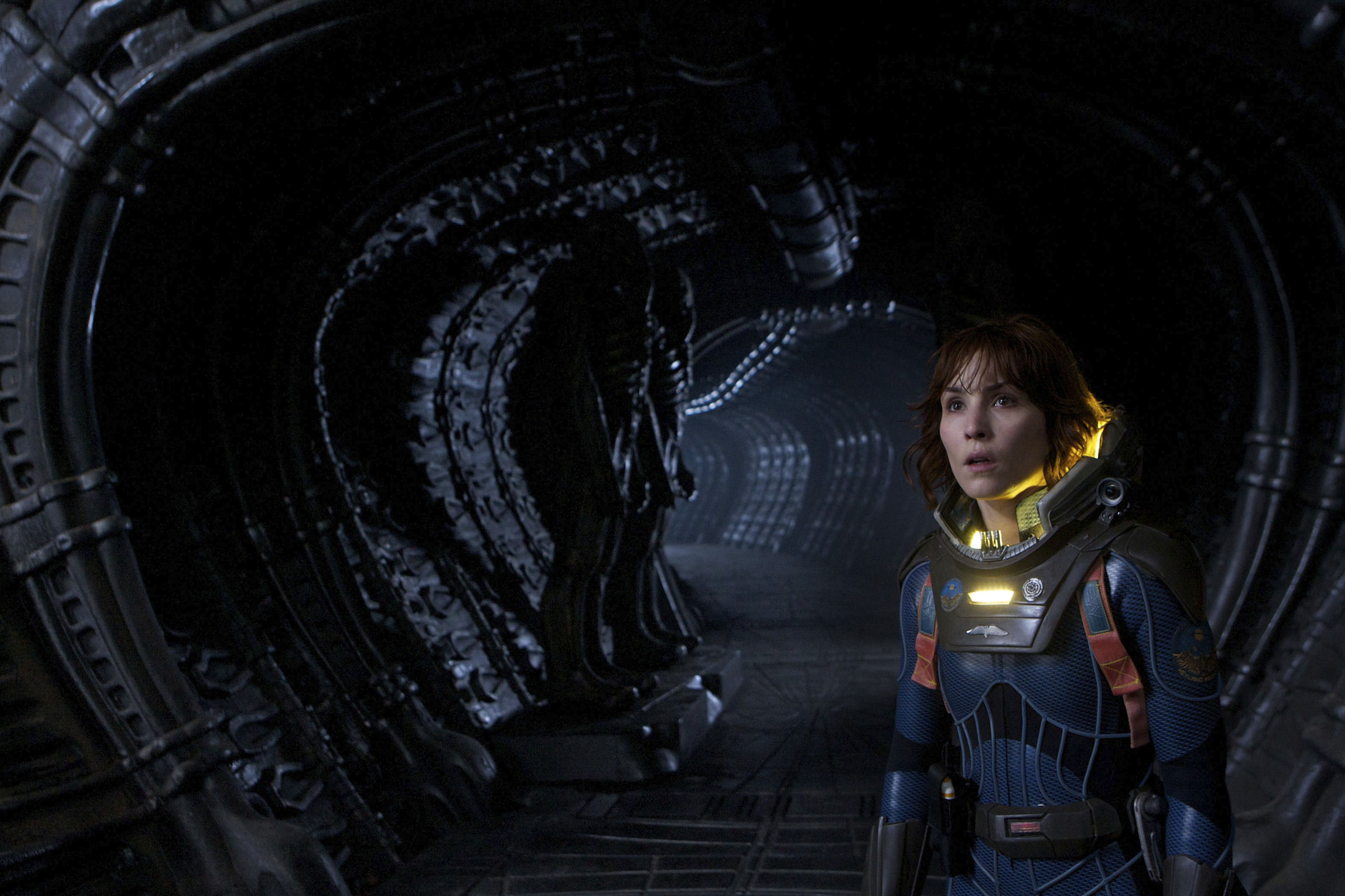 Noomi Rapace explores the alien ship in Prometheus (2012)