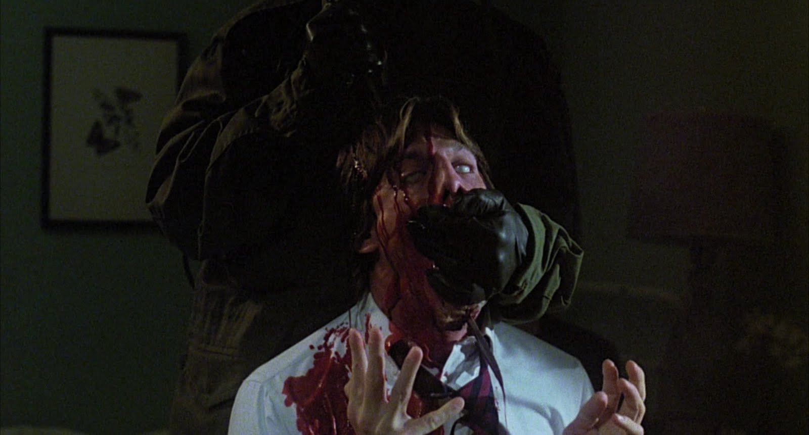 David Sederholm receives a knife through the head in The Prowler (1981)