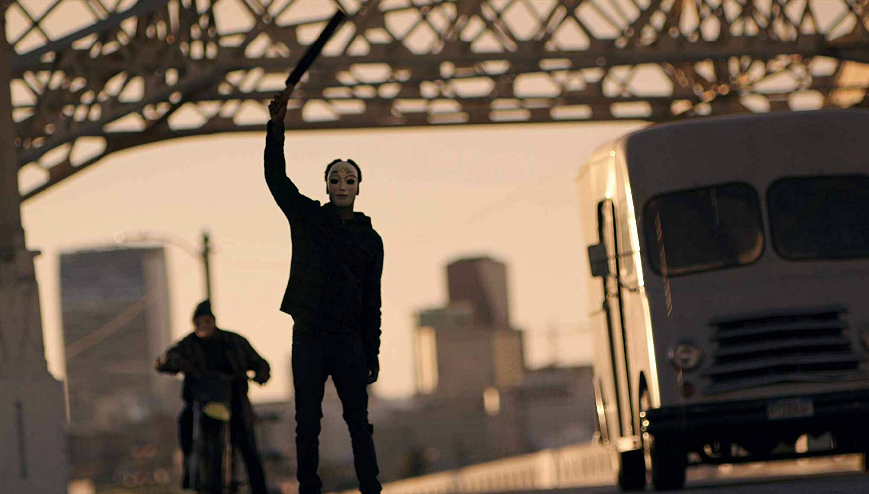 Crazies in the streets on Purge Night in The Purge: Anarchy (2014)