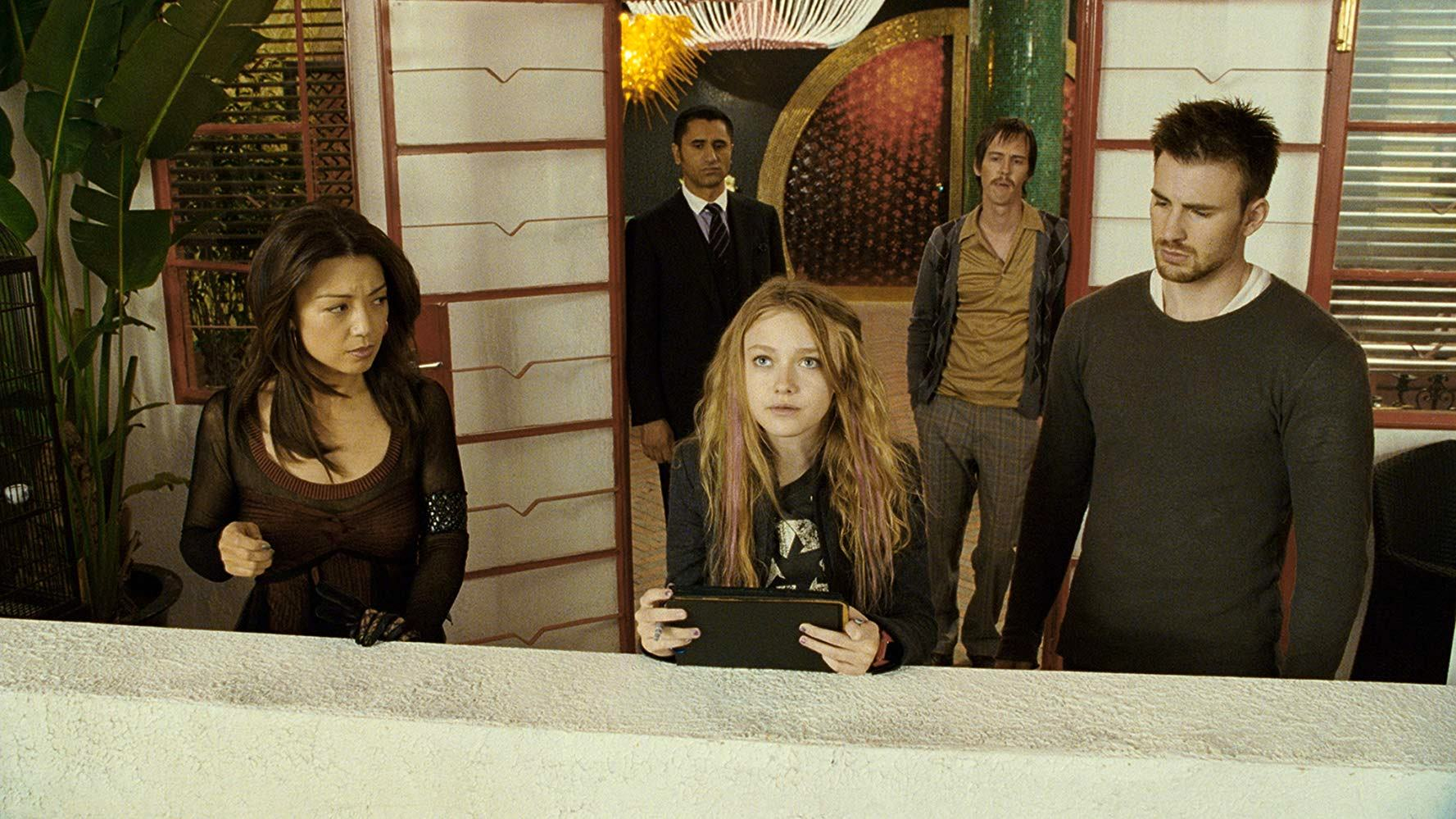 Hatching the scheme - (l to r) (front) Ming-Na, Dakota Fanning and Chris Evans; (back) Cliff Curtis and Nate Mooney in Push (2009)