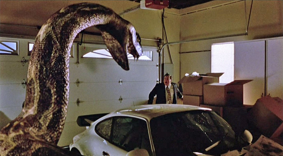 Scott Williamson is menaced by the giant snake in Python (2000)