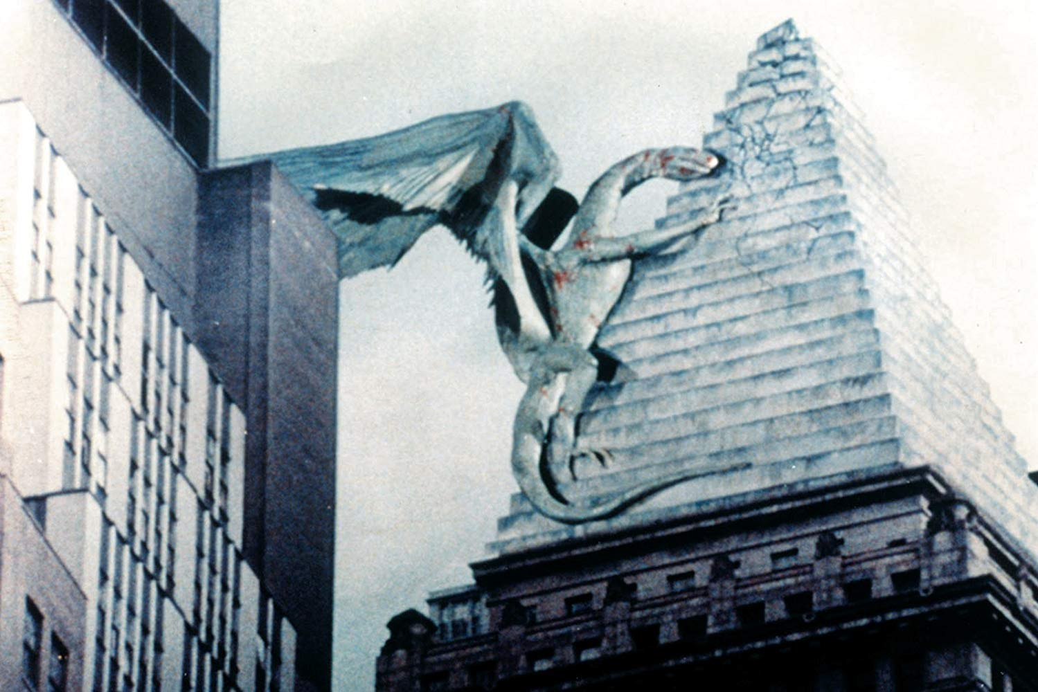 The Quetzalcoatl bird perched atop the Chrysler Building in Q: The Winged Serpent (1982)