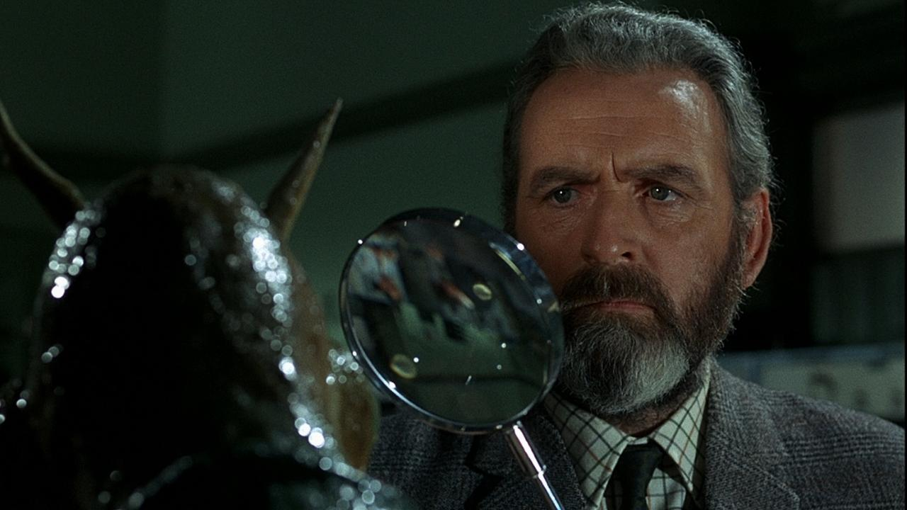 Professor Quatermass (Andrew Keir) examines the Martian's body in Quatermass and the Pit (1967)