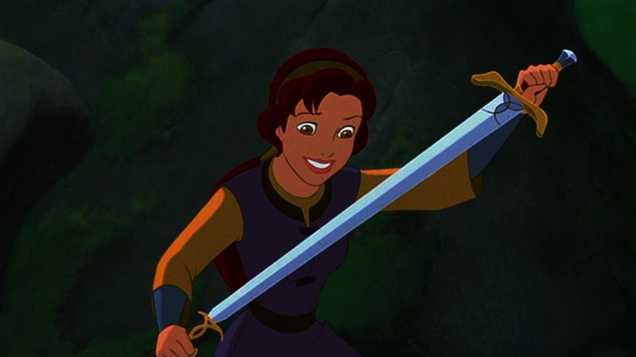 Kayley (voiced by Jessalyn Gilsig) with Excalibur in Quest for Camelot (1998)