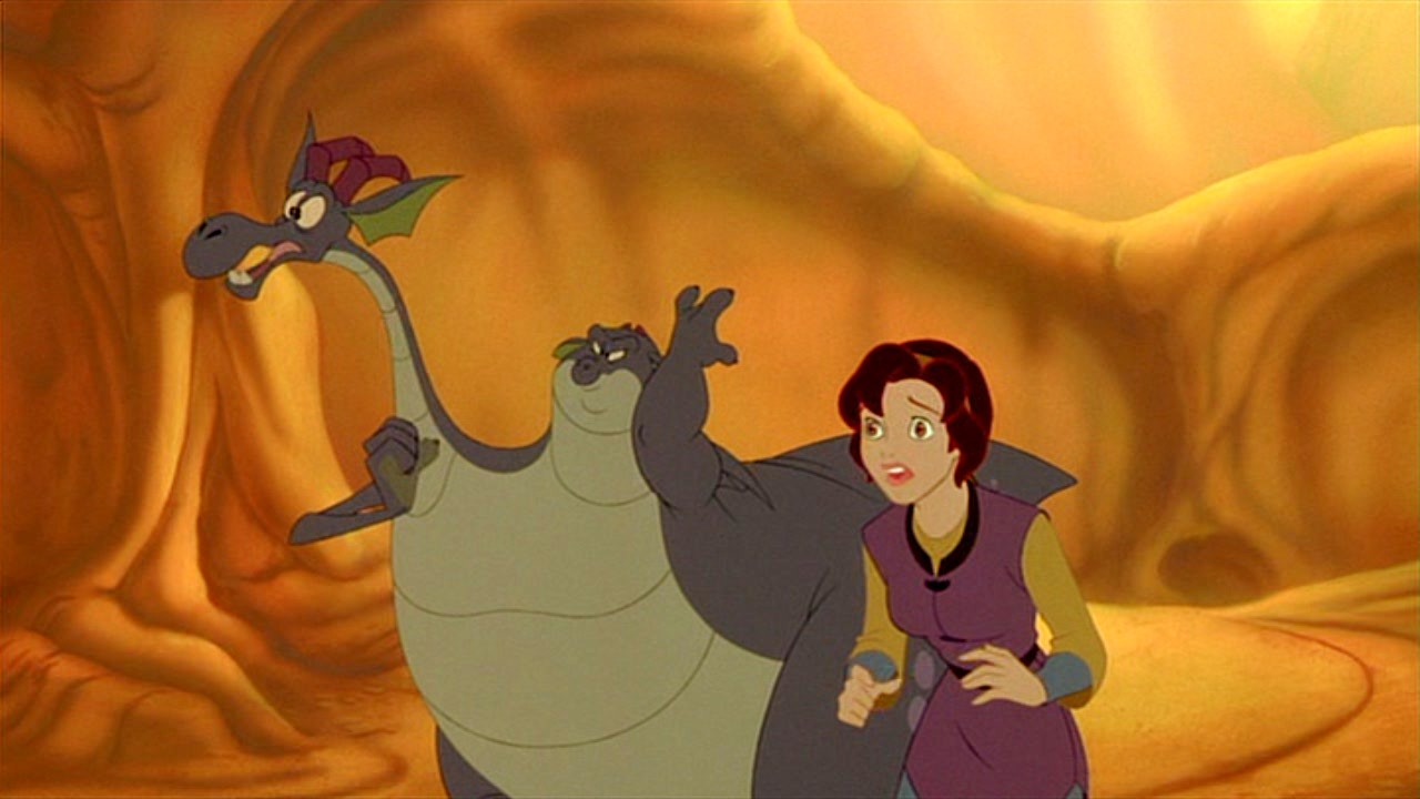 Kayley (voiced by Jessalyn Gilsig) with the two-headed dragon (voiced by Eric Idle and Don Rickles) in Quest for Camelot (1998)