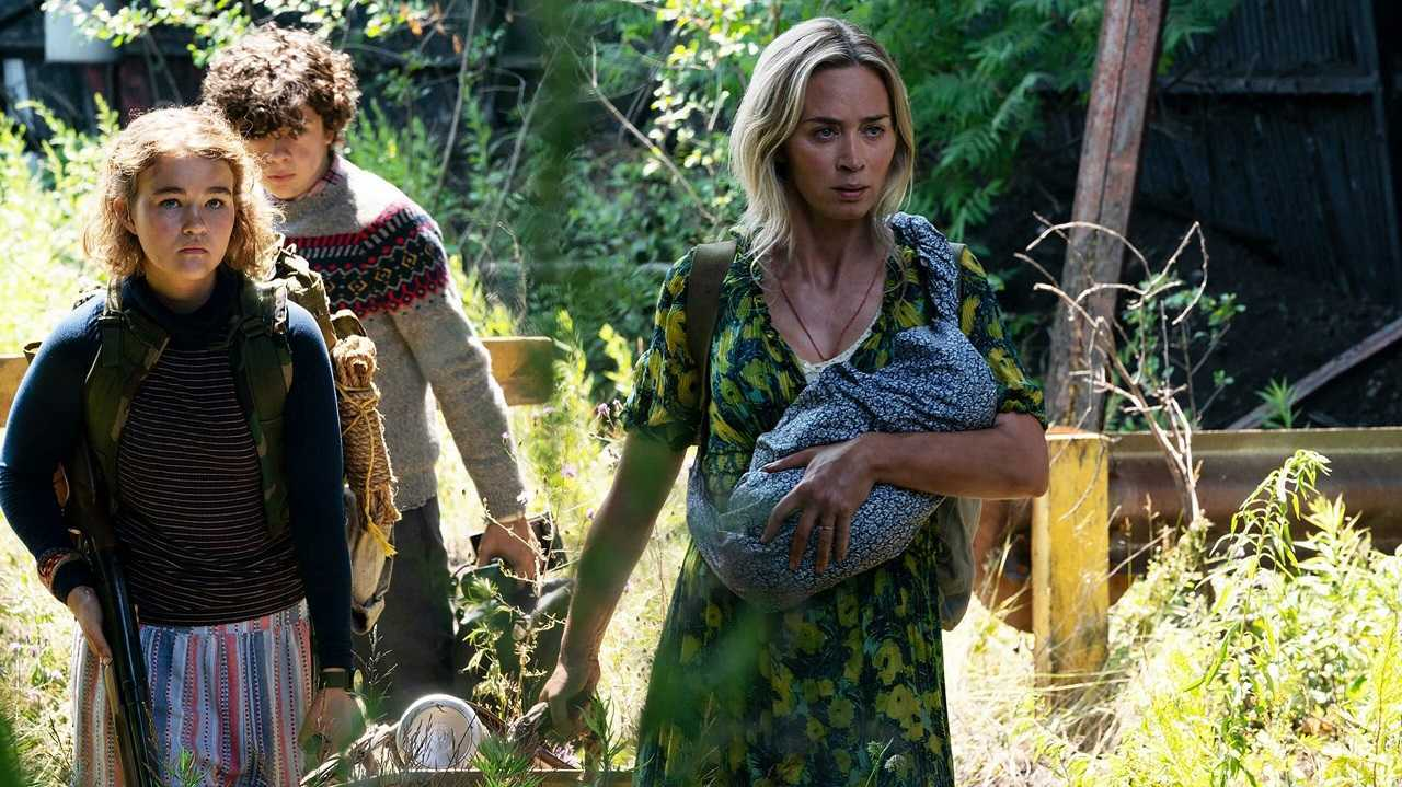 Emily Blunt and children Millicent Simmonds and Noah Jupe set out to find new shelter in A Quiet Place Part II (2020)