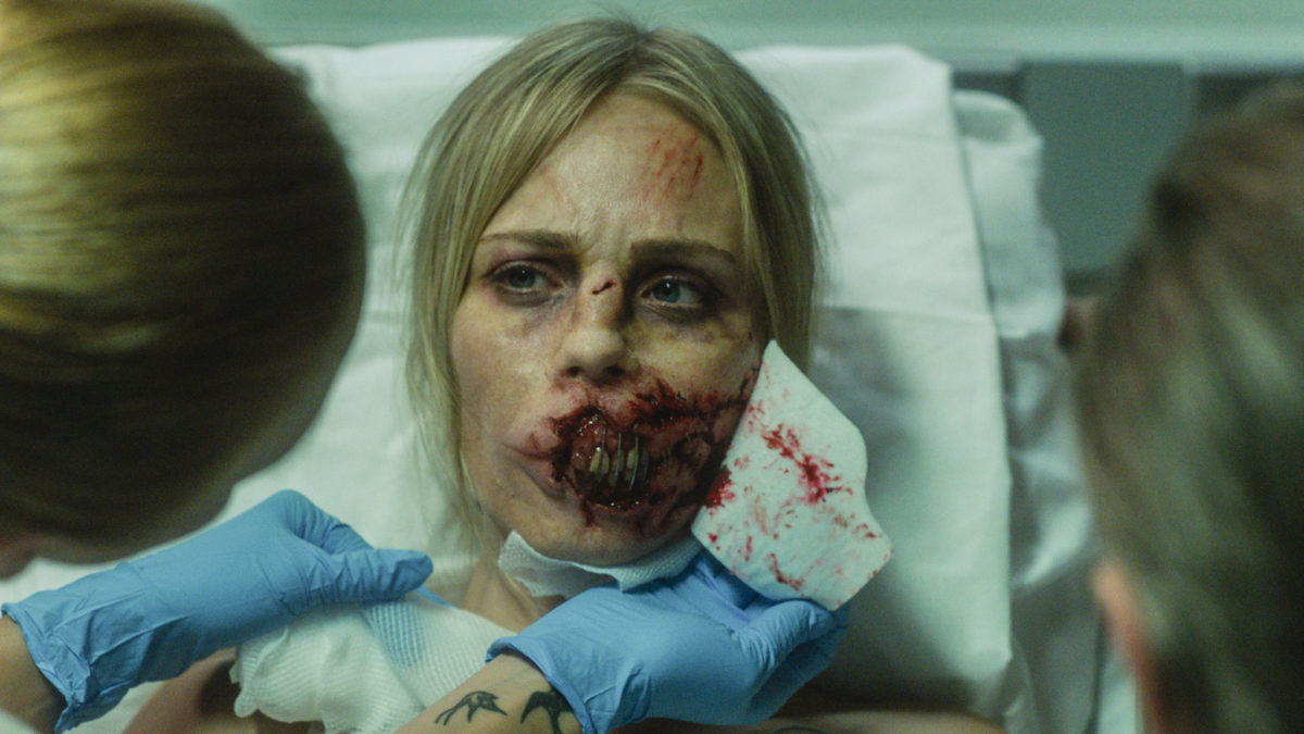 Rose (Laura Vandervoort) following her accident in Rabid (2019)