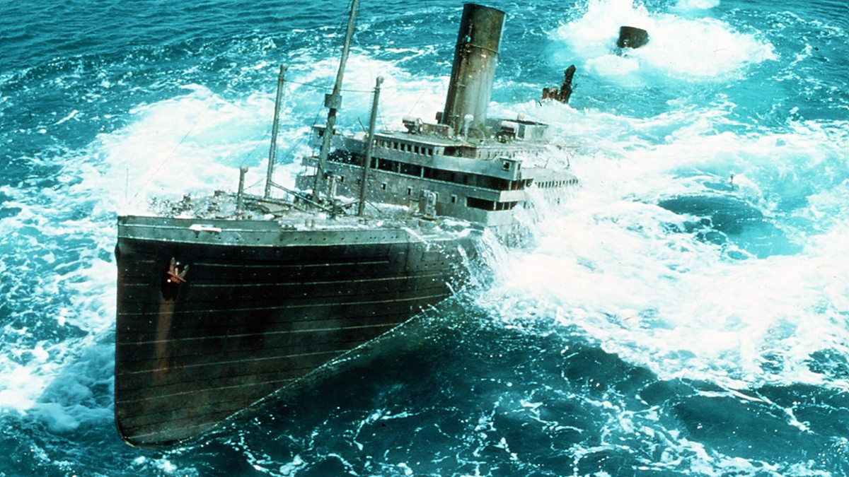 The 17-metre (55 foot) long model of the Titanic is raised in Raise the Titanic (1980)