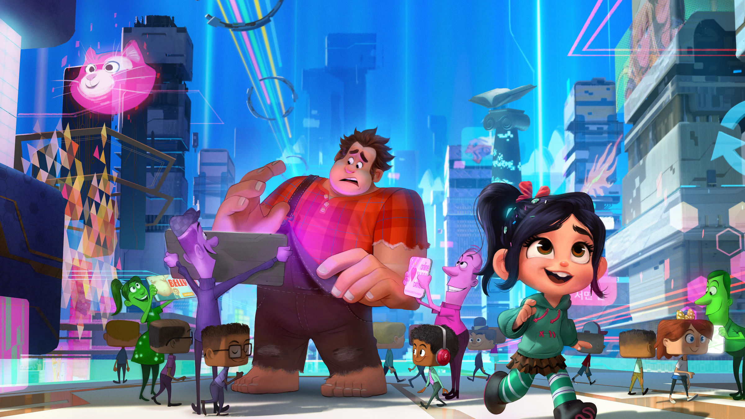 Ralph (voiced by John C. Reilly) and Vanellope (voiced by Sarah Silverman) venture out onto the internet in Ralph Breaks the Internet (2018)