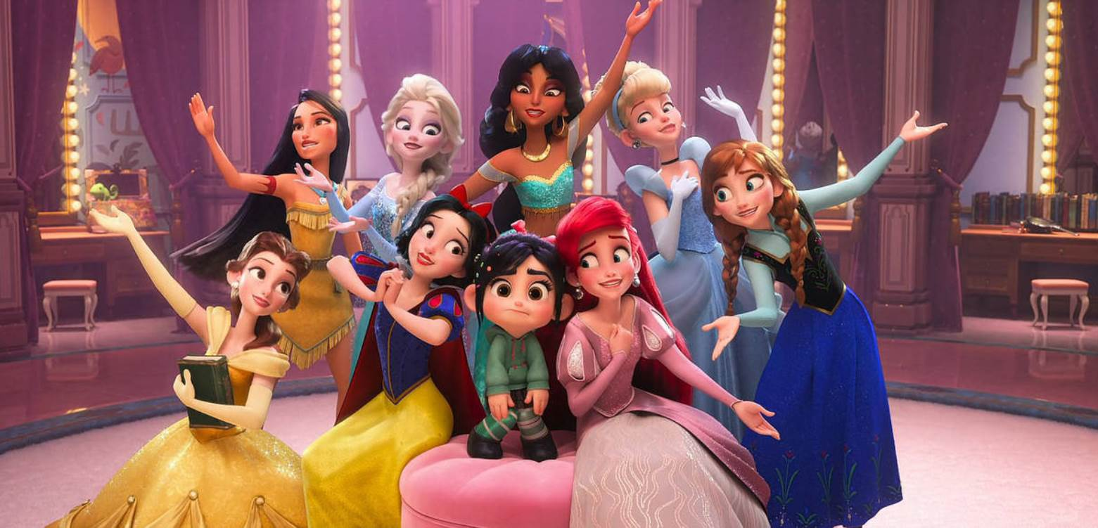 Vanellope joins the other Disney princesses - (l to r) (top row) Pocahontas, Aurora (Sleeping Beauty), Mulan, Cinderella; (bottom row) Belle, Snow White, Vanellope, Ariel and Anna in Ralph Breaks the Internet (2018)