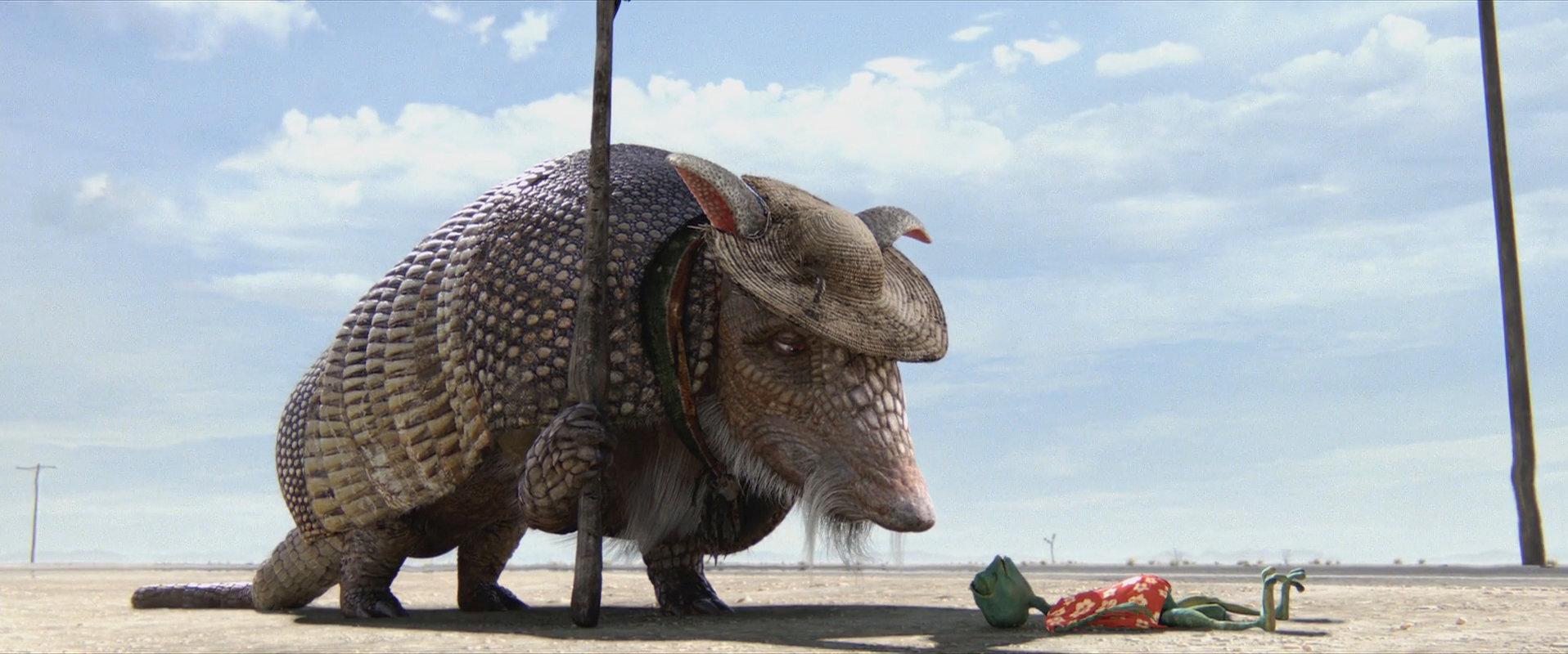 Rango (voiced by Johnny Depp) meets the armadillo Roadkill (voiced by Alfred Molina) in Rango (2011)