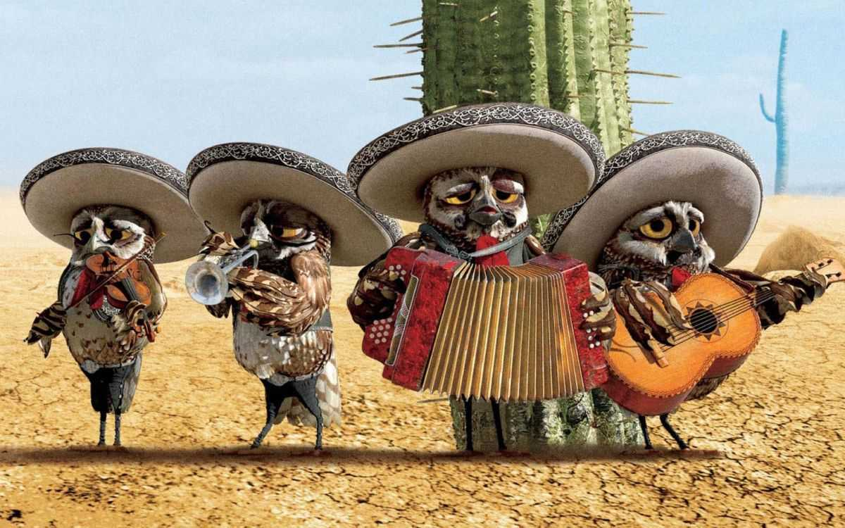 The chorus of owl mariachis in Rango (2011)