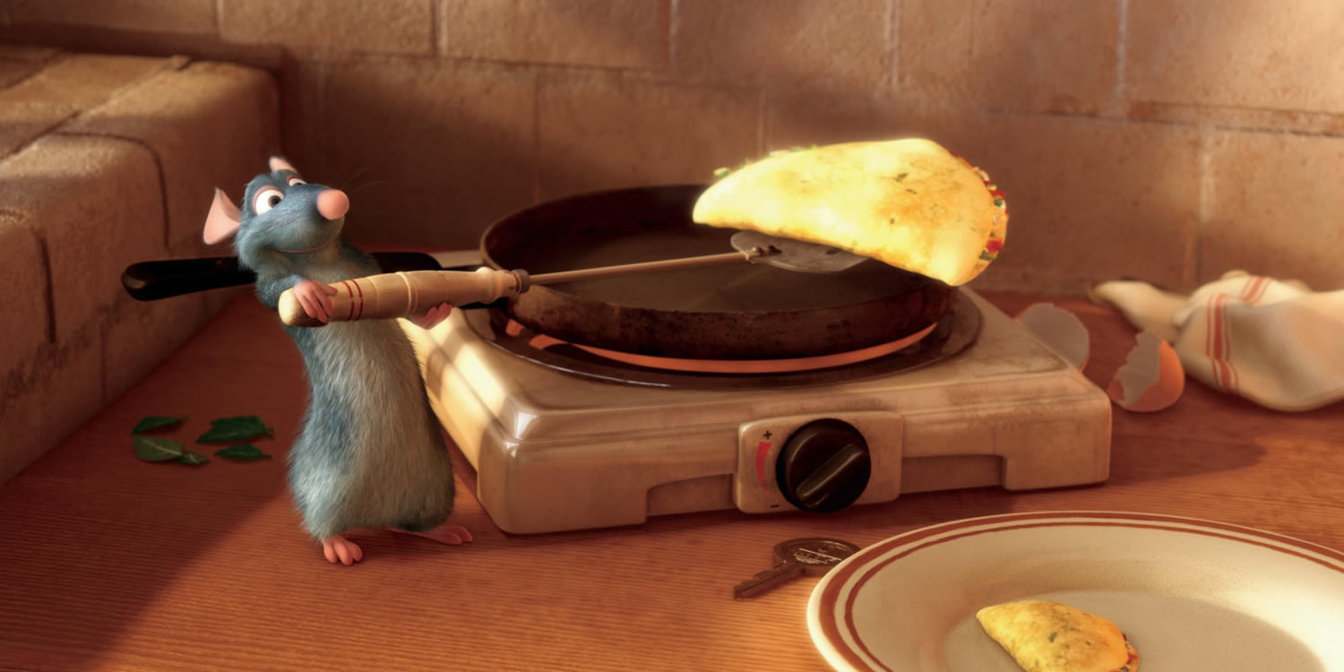 Remy the rat who becomes a gourmet chef (voiced by Patton Oswalt) in Ratatouille (2007)