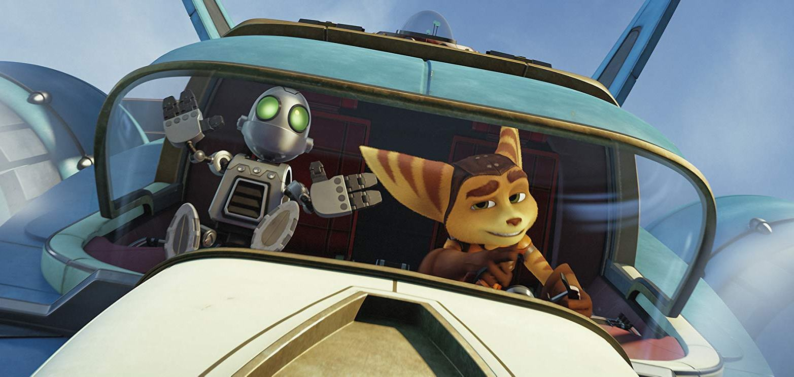 Ratchet (voiced by James Arnold Taylor) and the robot Clank (voiced by David Kaye) in Ratchet and Clank (2016)