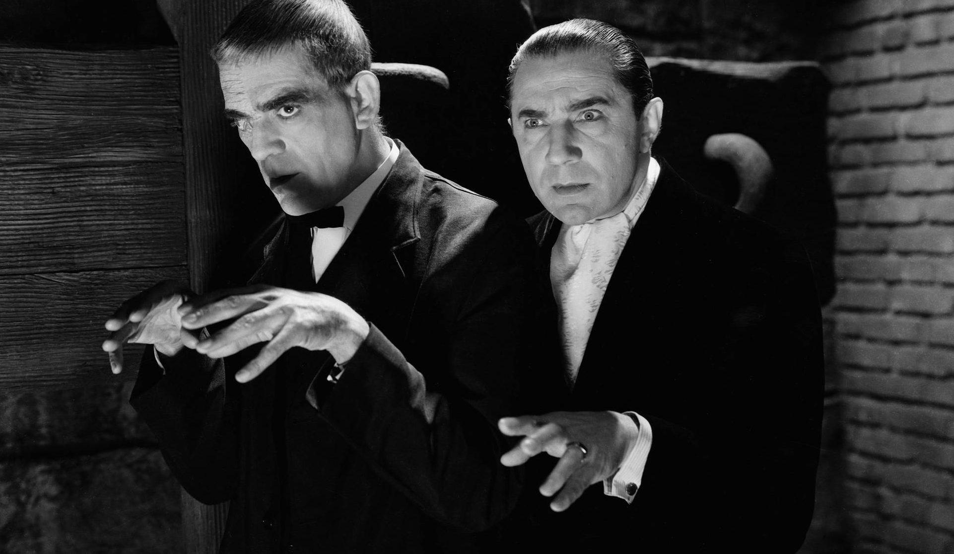 Poe-obsessed surgeon Bela Lugosi and facially disfigured escaped murderer Boris Karloff in The Raven (1935)