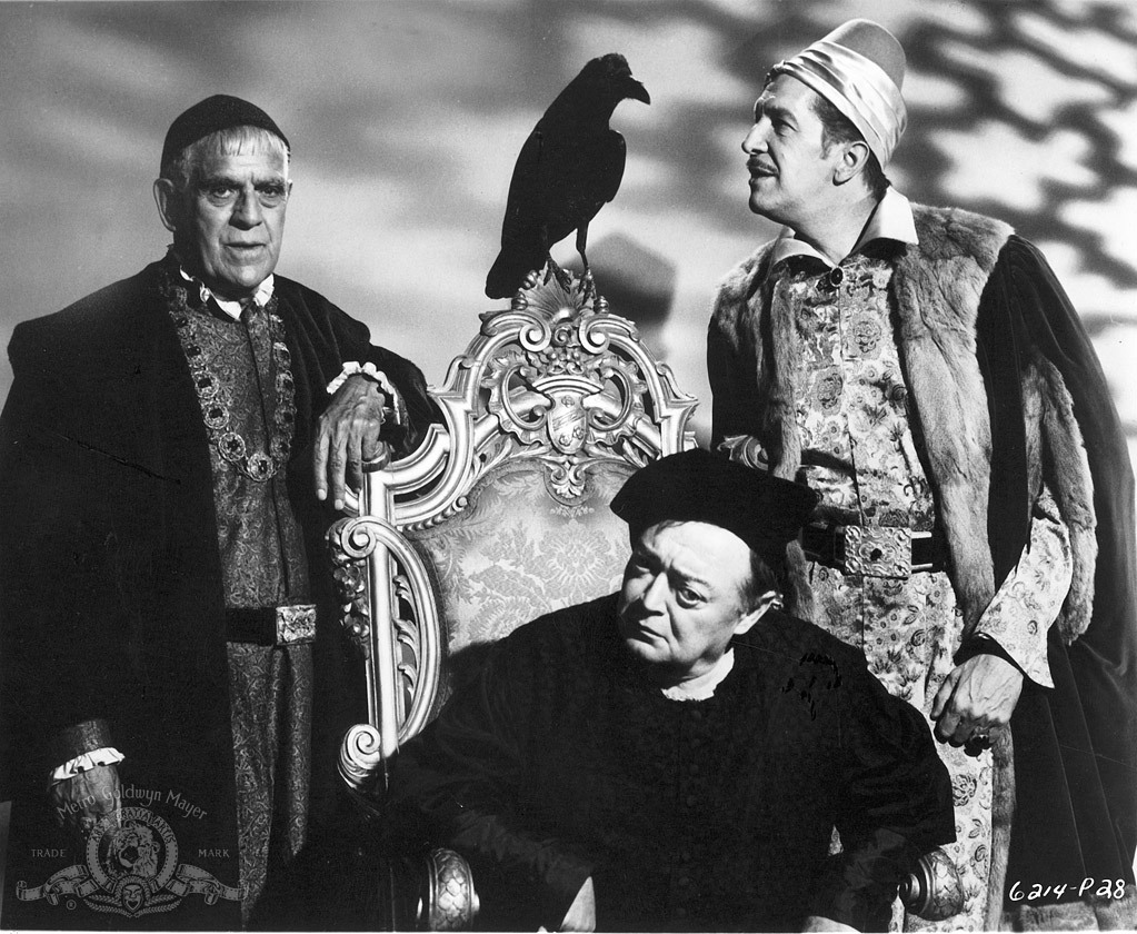 Rival magicians (l to r) Boris Karloff, Peter Lorre and Vincent Price in The Raven (1963)