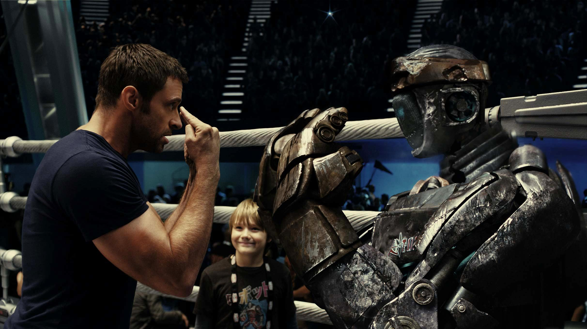 Hugh Jackman and Dakota Goyo ready Atom for the fight in Real Steel (2011)