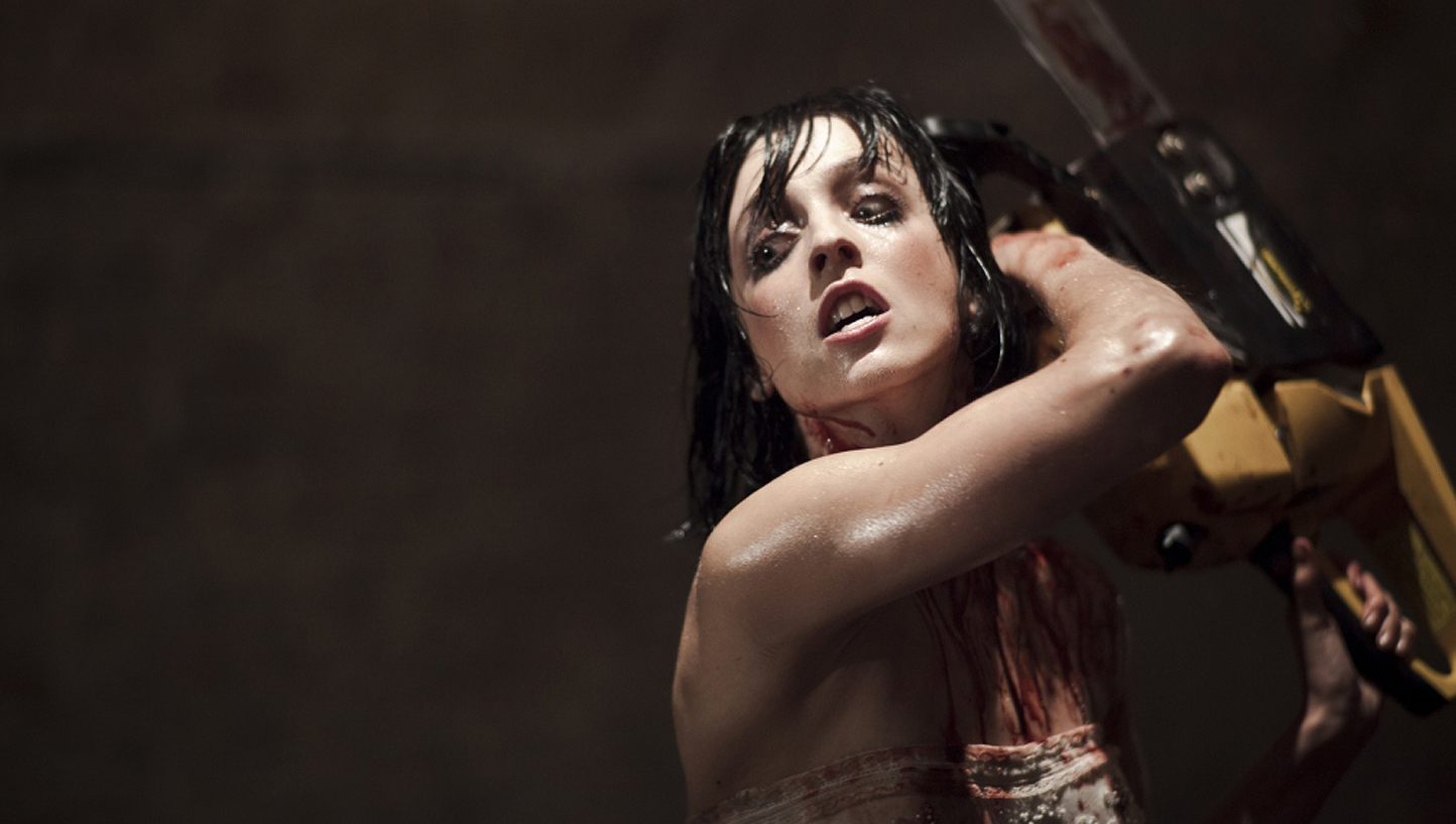Leticia Dolera takes on zombies with a chainsaw in [Rec]3 Genesis (2012)