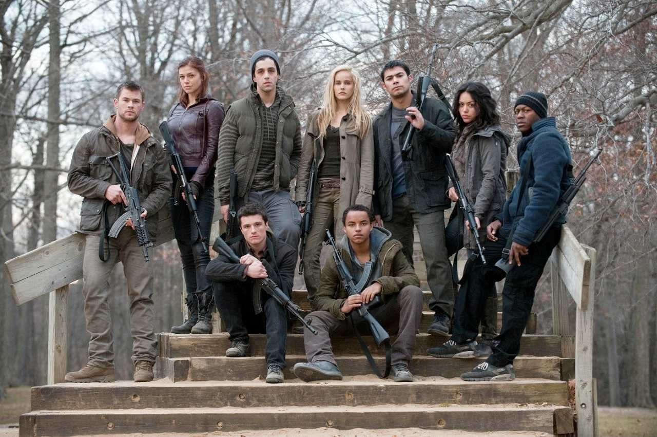 Cast line-up - Chris Hemsworth, Adrianne Palicki, Josh Peck, Isabel Lucas, Julian Alcaraz. Alyssa Diaz, Edwin Hodge, Josh Hutcherson and Connor Cruise in Red Dawn (2012)