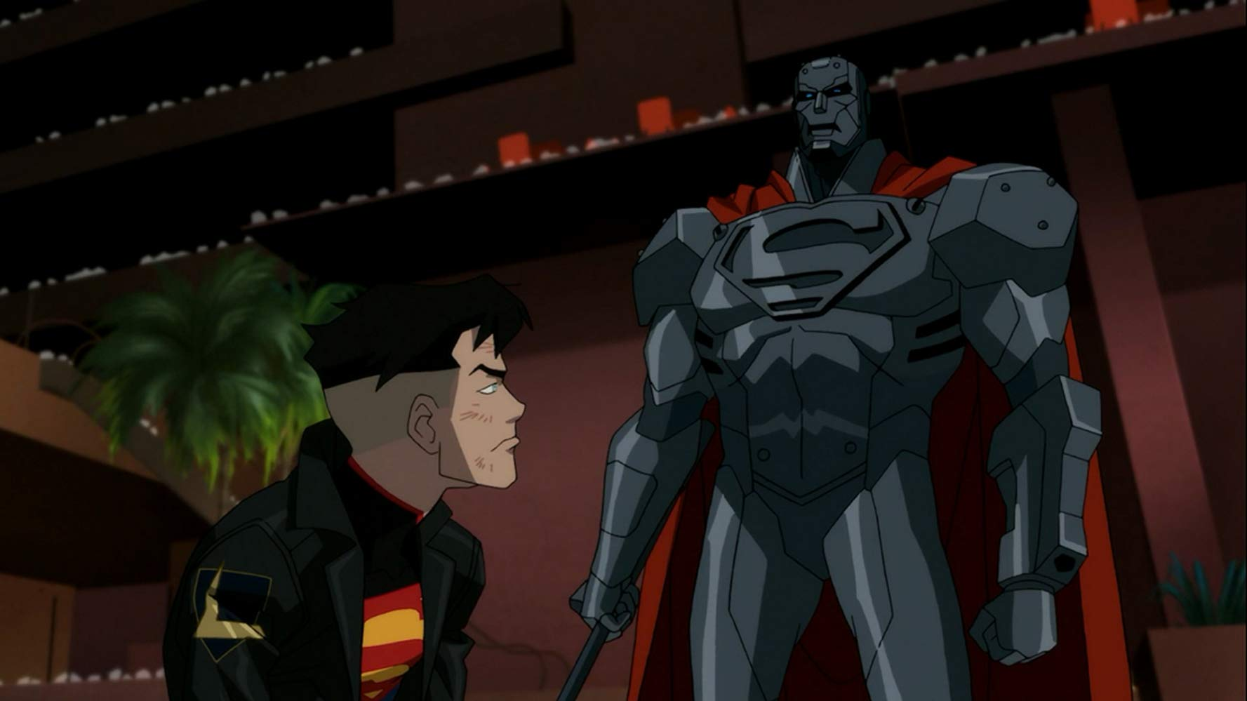 Superboy (voiced by Cameron Monaghan) and Steel (voiced by Chess Williams) - two of the Superman impostors in Reign of the Supermen (2019)