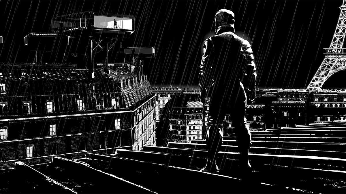 Striding black-and-white vision of the rooftops of Paris in Renaissance (2006)