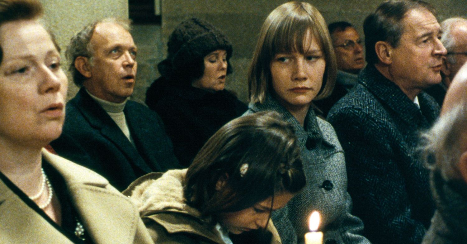 A troubled Sandra Hüller, as Michaela Klinger, the film's equivalent of Anneliese Michel, sits in church service in Requiem (2006)