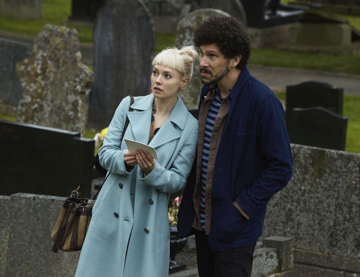 Lydia Wilson and Joel Fry investigate the mystery of Carys's disappearance in the village of Penllynith in Requiem (2018)