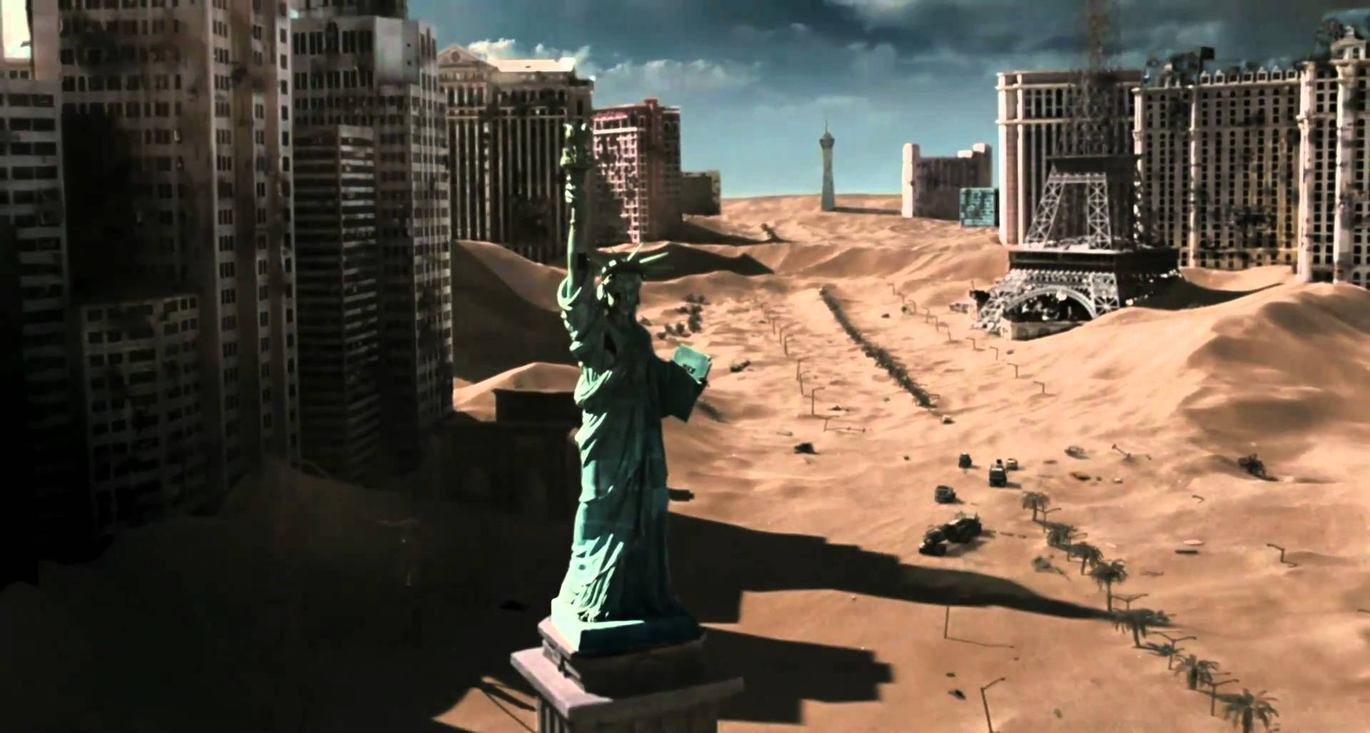 A destroyed Las Vegas in Resident Evil: Extinction (2007)