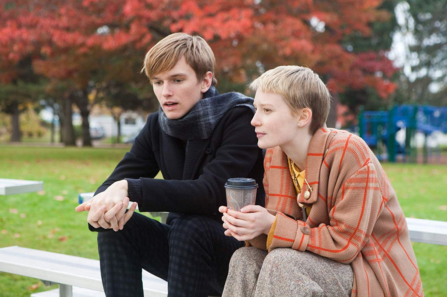 Oddball romance between alienated teenager Enoch Broe (Henry Hopper) and Annabel Cotton (Mia Wasikowska) who is dying of brain cancer in Restless (2011)