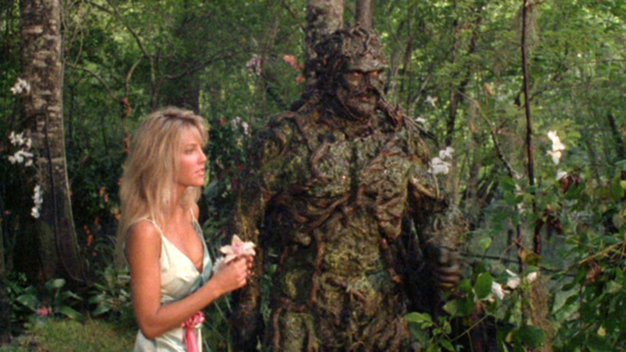 Swamp Thing (Dick Durock) and Abigail Arcane (Heather Locklear) in The Return of Swamp Thing (1989)