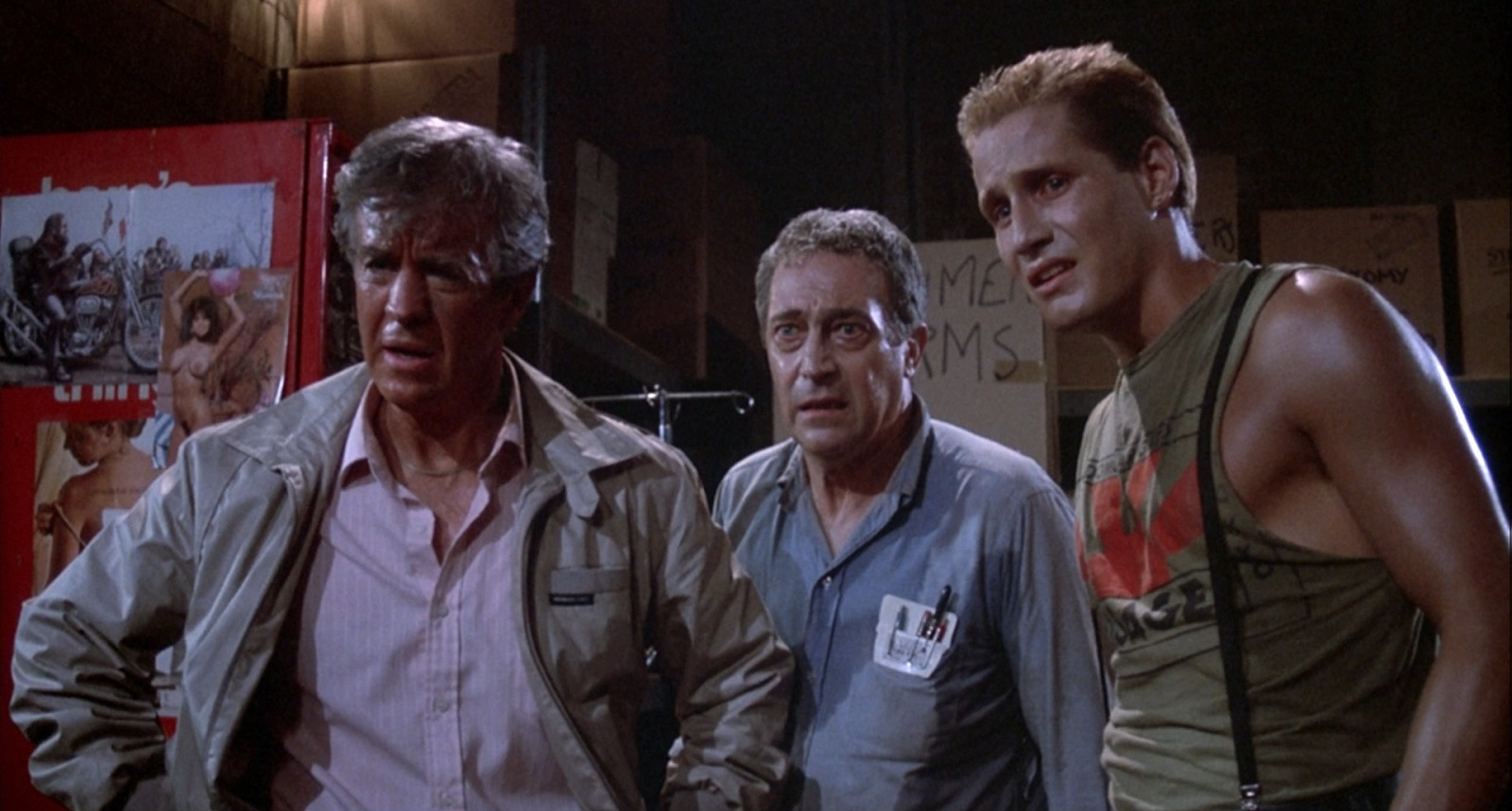 (l to r) Morgue attendants Clu Gulager, James Karen and Thom Matthews in Return of the Living Dead (1985)