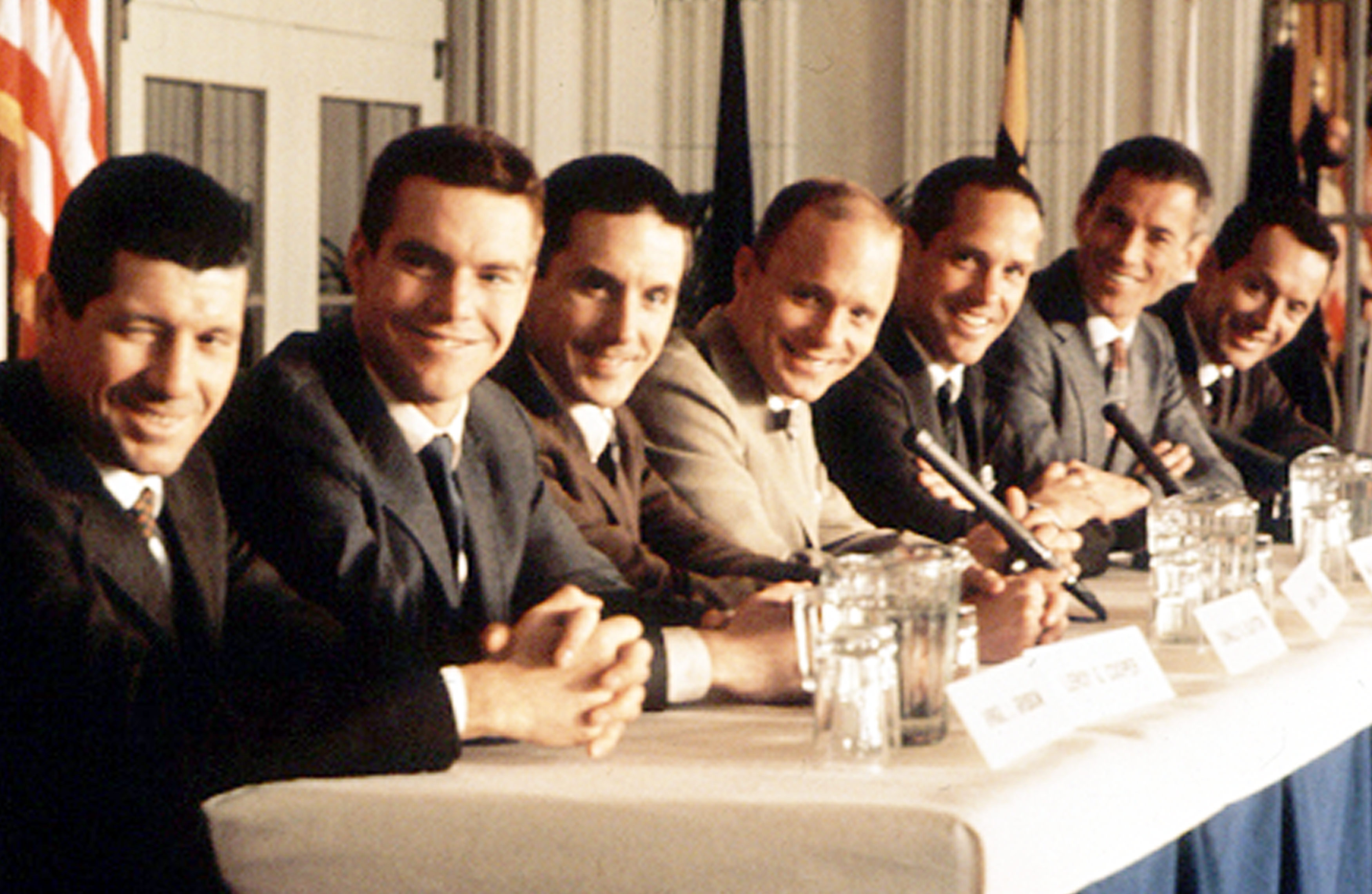 Gus Grissom (Fred Ward), Gordon Cooper (Dennis Quaid), Deke Slayton (Scott Paulin), John Glenn (Ed Harris), Scott Carpenter (Charles Frank), Alan Shepard (Scott Glenn) and Wally Schirra (Lance Henriksen) in The Right Stuff (1983)
